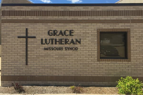 Churches Grace Lutheran Routed Letters