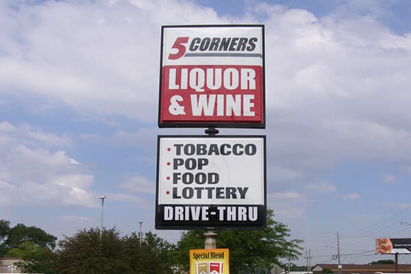 Convenience Stores  5 Corners Pole Sign
